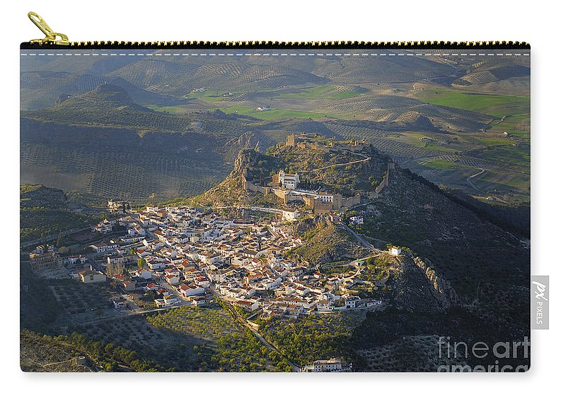 Aerial Photo Carry-all Pouch featuring the photograph Moclin Castle by Guido Montanes Castillo