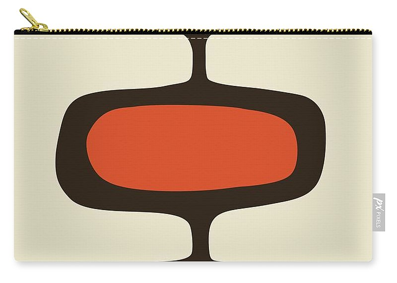 Brown Carry-all Pouch featuring the digital art Mod Pod One Orange With Brown by Donna Mibus