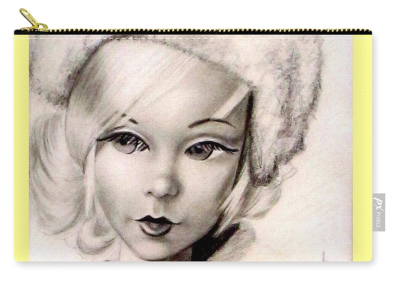 Art Carry-all Pouch featuring the drawing Mod Talker Barbie by Georgia's Art Brush