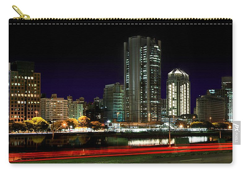 Sao Paulo Carry-all Pouch featuring the photograph Modern Sao Paulo Skyline Near Brooklin District And Stayed Bridge by Carlos Alkmin