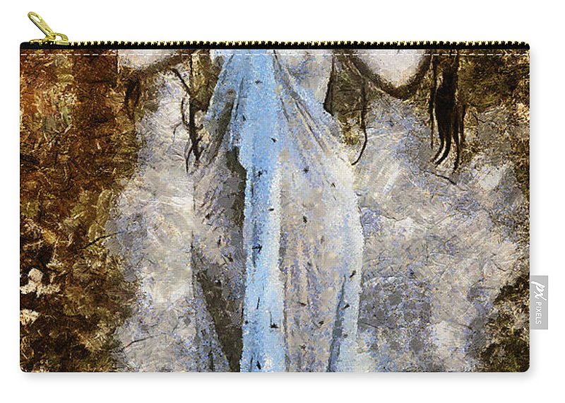 Woman Carry-all Pouch featuring the mixed media Modern Vintage Lady In Blue by Georgiana Romanovna