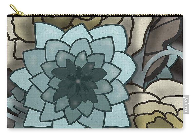 Tan Carry-all Pouch featuring the painting Modern Water Lily by Nancy Long