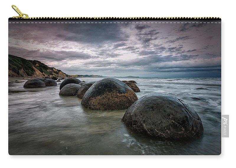 Scenics Carry-all Pouch featuring the photograph Moeraki Morning   Otago Coast, Nz by Copyright Lorenzo Montezemolo