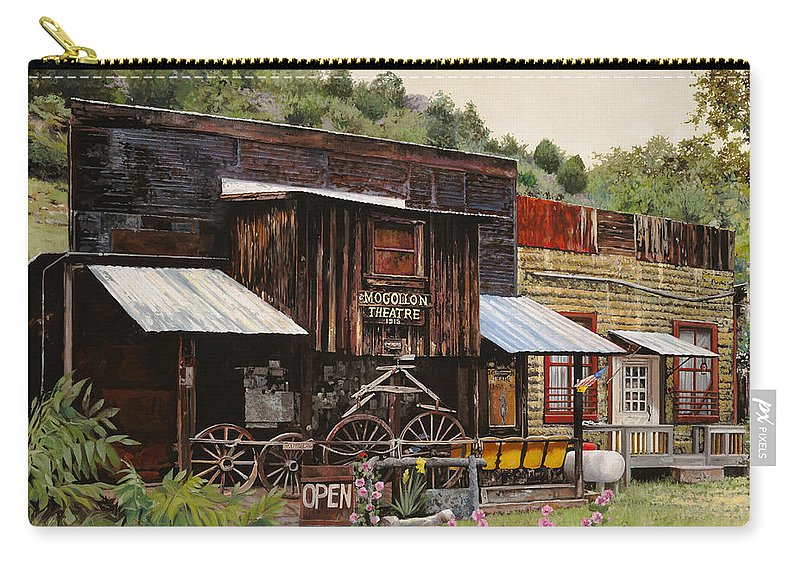 Theatre Carry-all Pouch featuring the painting Mogollon-theatre-new Mexico by Guido Borelli