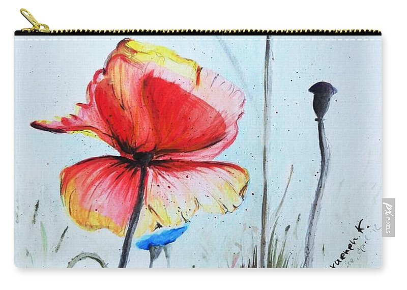 Mohnwiese Carry-all Pouch featuring the painting Mohnwiese by Katharina Filus