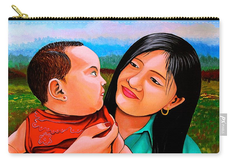 Baby Carry-all Pouch featuring the painting Mom And Babe by Cyril Maza