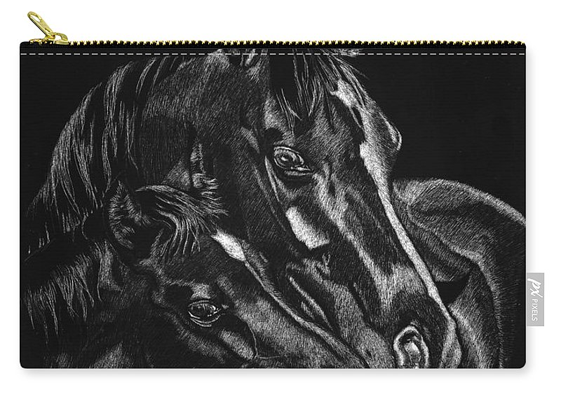 Horse Carry-all Pouch featuring the drawing Moma's Love by Yenni Harrison
