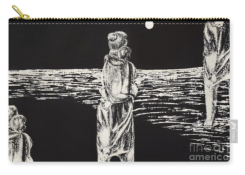Mother Carry-all Pouch featuring the drawing Momhold by Michelle S White