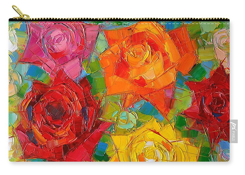 Rose Carry-all Pouch featuring the painting Mon Amour La Rose by Mona Edulesco