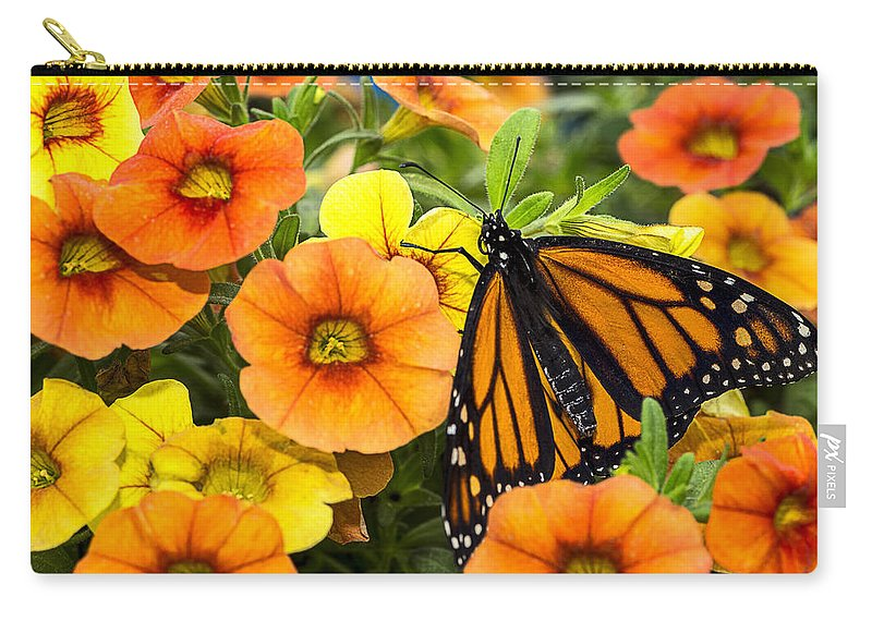 Monarch Carry-all Pouch featuring the photograph Monarch Among The Flowers by Garry Gay