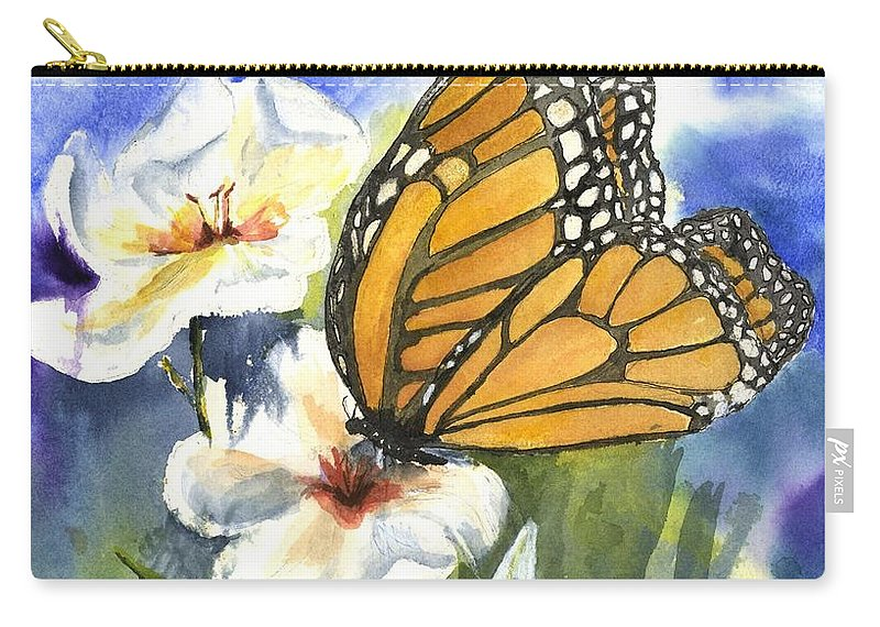 White Flowers And Butterflies Carry-all Pouch featuring the painting Monarchs In The Gardens by Maria Hunt