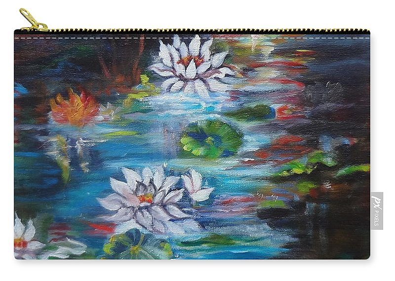 Monet Pond Print Carry-all Pouch featuring the painting Monet's Pond With Lotus 11 by Jenny Lee
