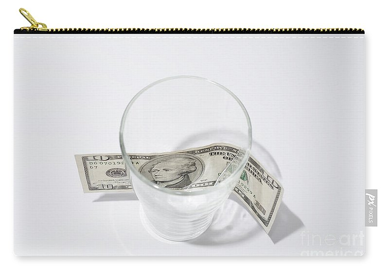 Money Carry-all Pouch featuring the photograph Money And Glass by Mats Silvan