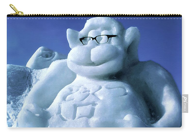 Ice Festival Sapporo Japan Carving Carvings Monkey Monkeys Snow Snowscape Snowscapes Carry-all Pouch featuring the photograph Monkey Business by Bob Phillips