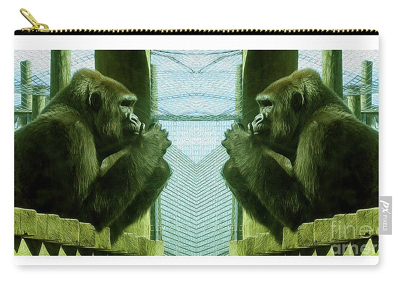 Gorilla Carry-all Pouch featuring the photograph Monkey See Monkey Do by Nina Silver