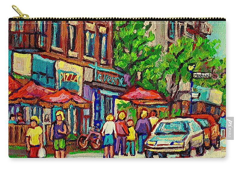 Montreal Carry-all Pouch featuring the painting Monkland Tavern Corner Old Orchard Montreal Street Scene Painting by Carole Spandau