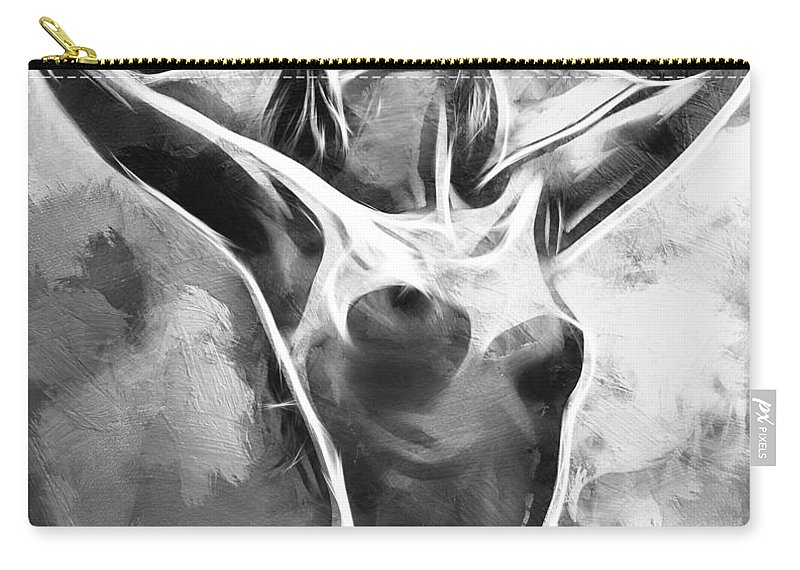 Female Girl Woman Nude Naked Erotic Monochrome Monochromatic Expressionism Impressionism Sensual Black White Sexy Boobs Tits Curves Abstract Painting Carry-all Pouch featuring the painting Monochromatic by Steve K