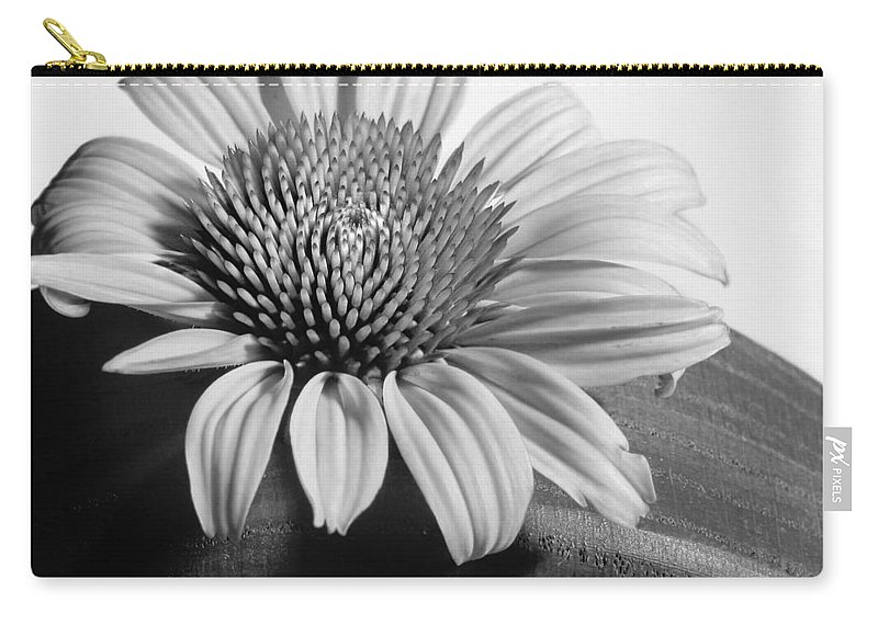 Black And White Carry-all Pouch featuring the photograph Monochrome Coneflower by David and Carol Kelly