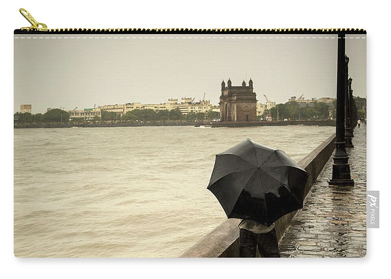 People Carry-all Pouch featuring the photograph Monsoon In Mumbai by Frank Bunnik