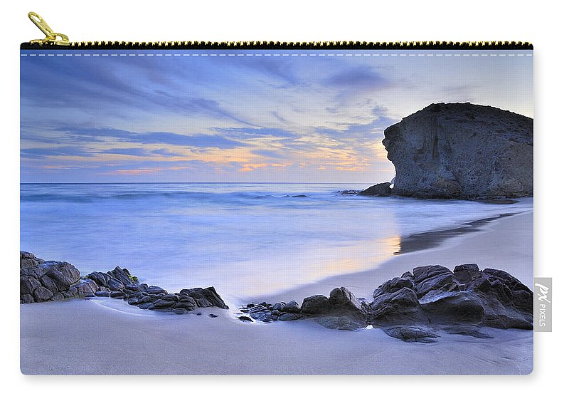 Sunset Carry-all Pouch featuring the photograph Monsul Beach At Sunset by Guido Montanes Castillo