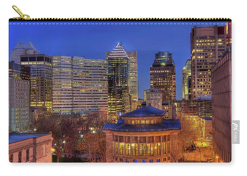 Tranquility Carry-all Pouch featuring the photograph Montreal Downtown At Dusk Hdr II by Jean Surprenant