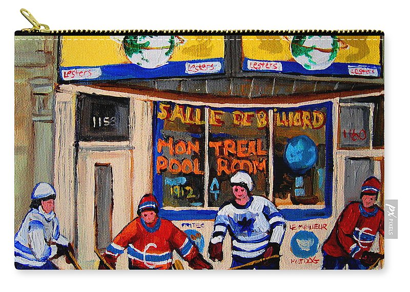 Montreal Carry-all Pouch featuring the painting Montreal Pool Room City Scene With Hockey by Carole Spandau