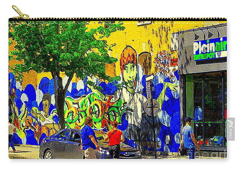 Montreal Carry-all Pouch featuring the painting Montreal Street Art Murals Festival Painted Graffiti Tags Plein Air Entrepot Mont Royal C Spandau by Carole Spandau