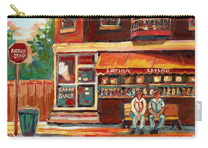 Montreal Carry-all Pouch featuring the painting Montreal Street Scene Paintings by Carole Spandau