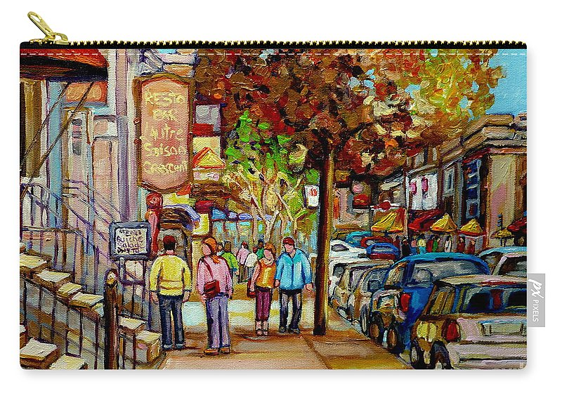 Montreal Streetscenes Carry-all Pouch featuring the painting Montreal Streetscenes By Cityscene Artist Carole Spandau Over 500 Montreal Canvas Prints To Choose by Carole Spandau