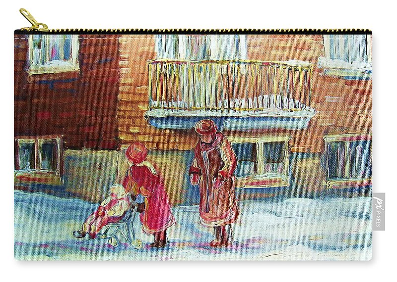 Montreal Carry-all Pouch featuring the painting Montreal Winter Scenes by Carole Spandau