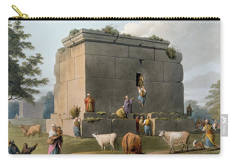 Monument Carry-all Pouch featuring the drawing Monument Between Tripoli And Tortosa by Luigi Mayer