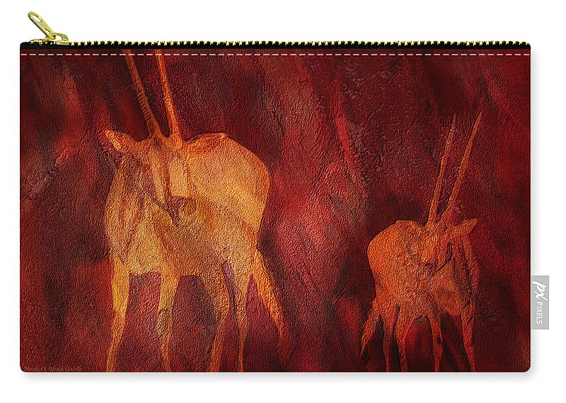 Gazelle Carry-all Pouch featuring the mixed media Moods Of Africa - Gazelle by Carol Cavalaris