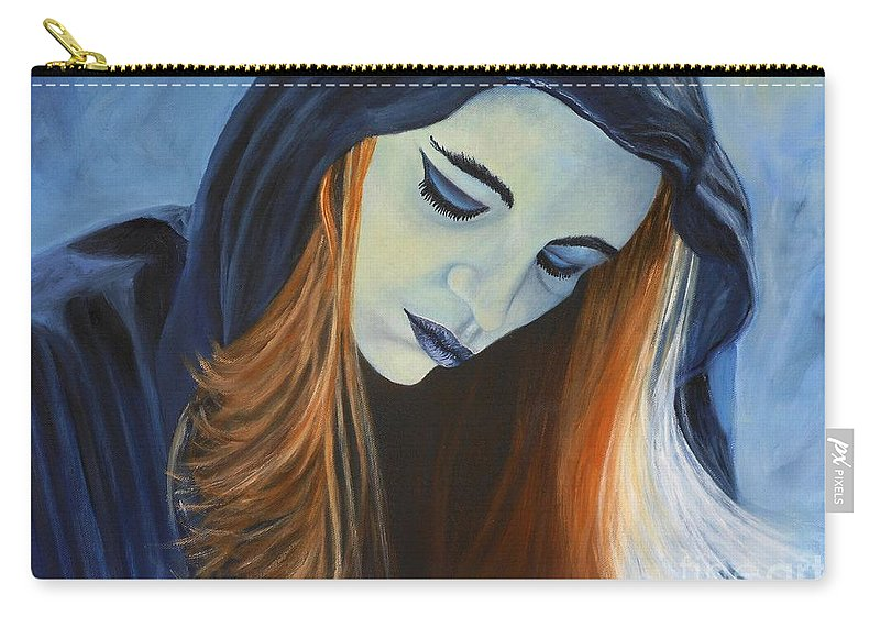 Portrait Carry-all Pouch featuring the painting Moody Blue by Caroline Street