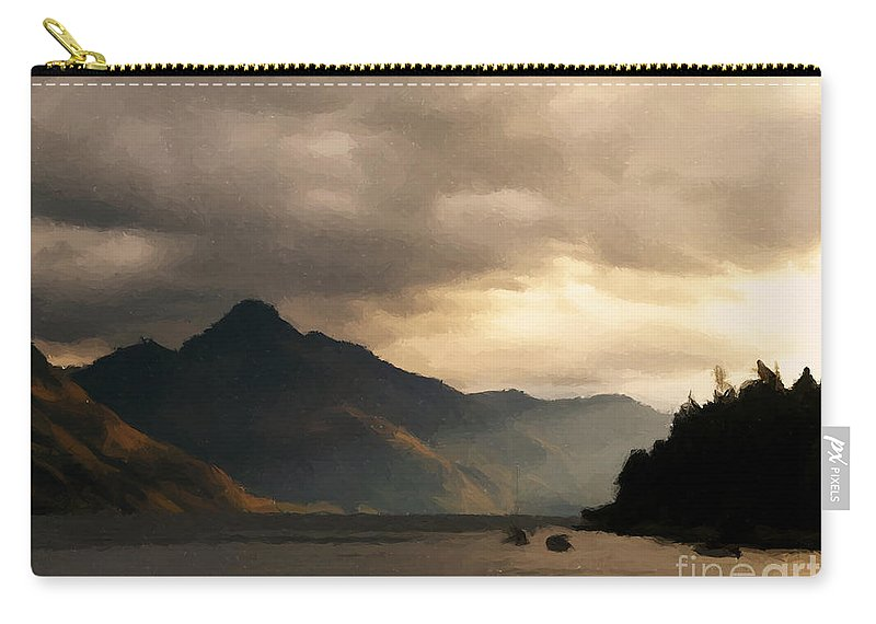 Lake Carry-all Pouch featuring the painting Moody Lake by Pixel Chimp