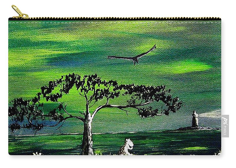 Decotarive Carry-all Pouch featuring the painting Moomintroll And Lighthouse by Anastasiya Malakhova