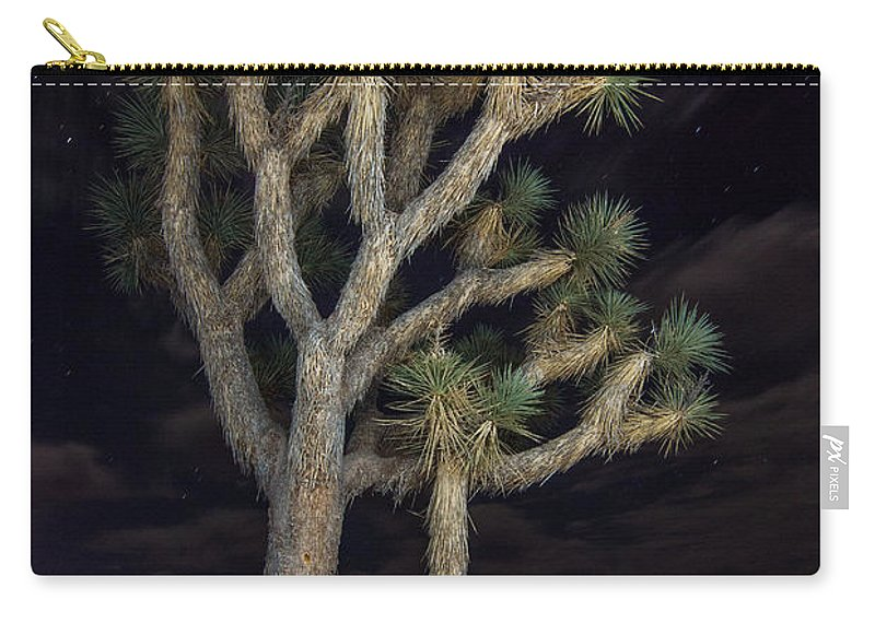 Joshua Tree Carry-all Pouch featuring the photograph Moon Over Joshua - Joshua Tree National Park In California by Jamie Pham