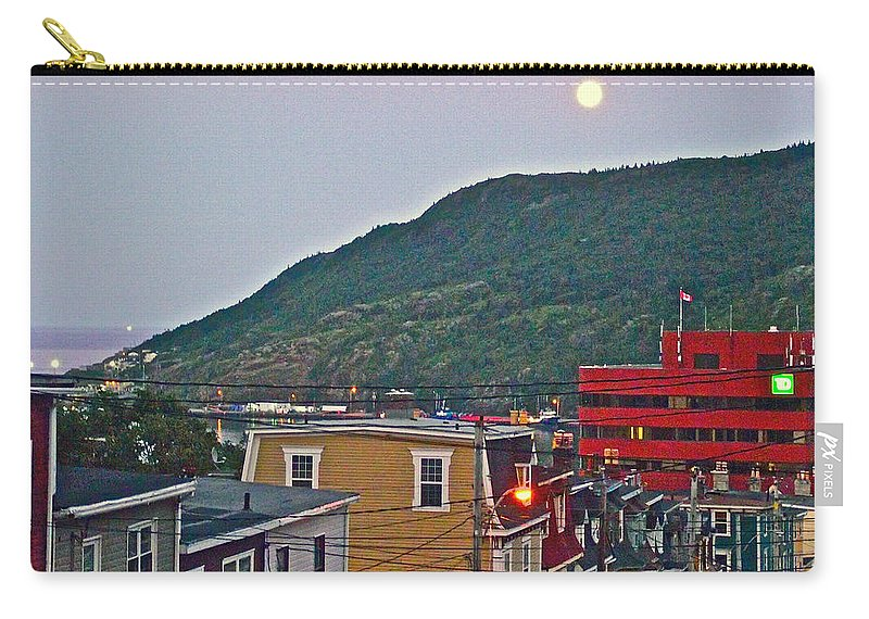 Moon Over Saint John's Carry-all Pouch featuring the photograph Moon Over Saint John's-nl by Ruth Hager
