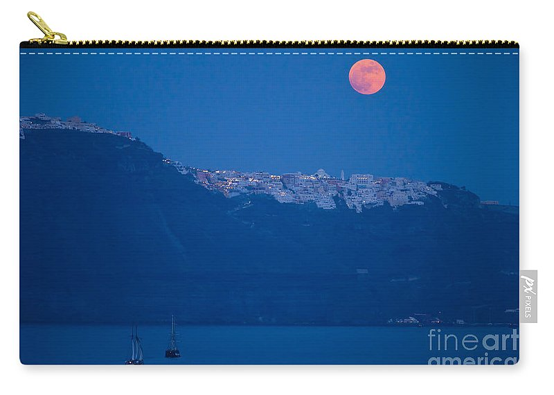 Santorini Carry-all Pouch featuring the photograph Moon Over Santorini by Brian Jannsen