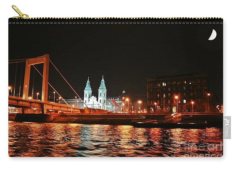 Travel Carry-all Pouch featuring the photograph Moon Over The Danube by Elvis Vaughn