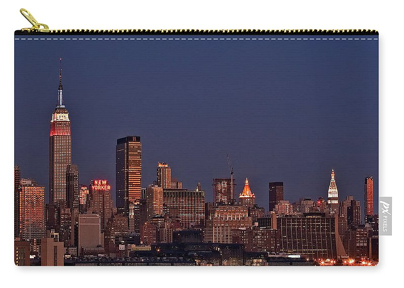 New York City Skyline Carry-all Pouch featuring the photograph Moon Rise Over Manhattan by Susan Candelario
