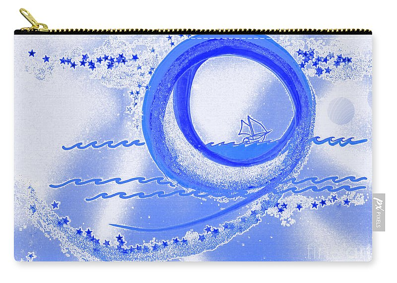First Star Art Carry-all Pouch featuring the mixed media Moon Surfing 1 By Jrr by First Star Art