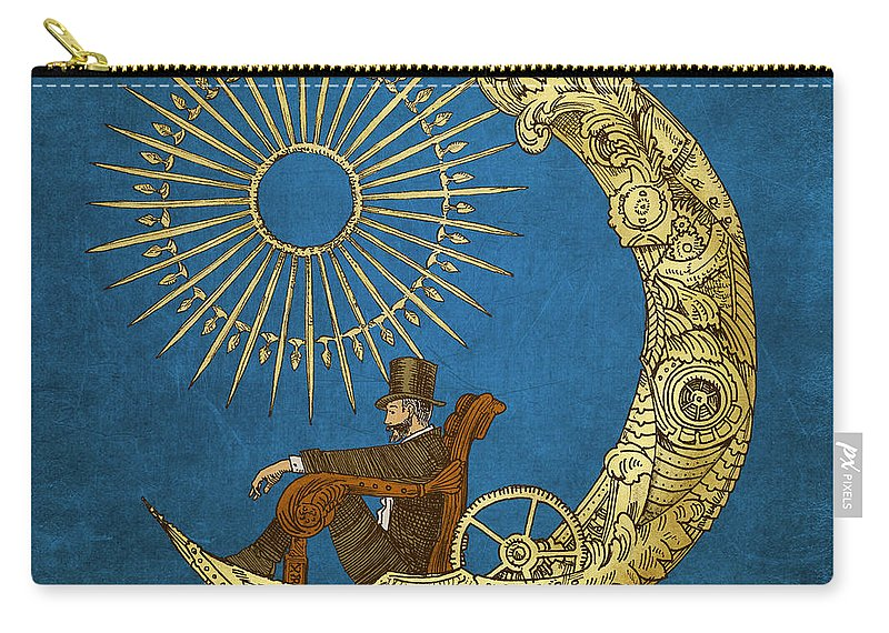 Blue Carry-all Pouch featuring the digital art Moon Travel by Eric Fan