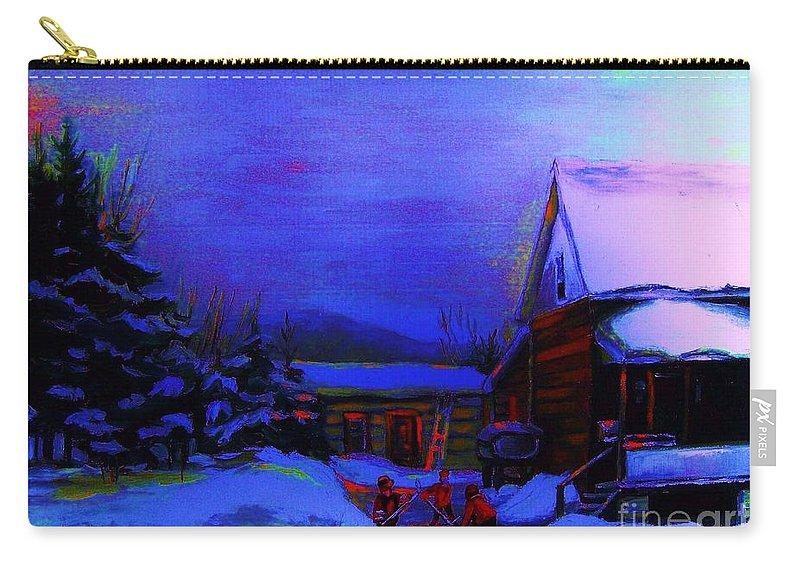Hockey Carry-all Pouch featuring the painting Moonglow On Powder by Carole Spandau