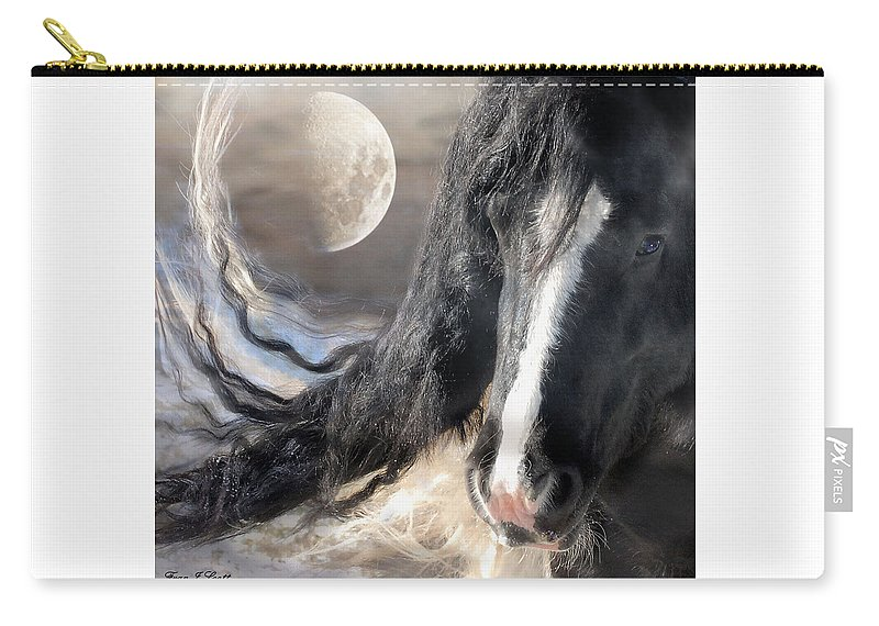 Horse Art Prints Carry-all Pouch featuring the photograph Moonlight And Valentino by Fran J Scott