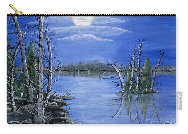 Landscape Carry-all Pouch featuring the painting Moonlight Mist by Brenda Brown