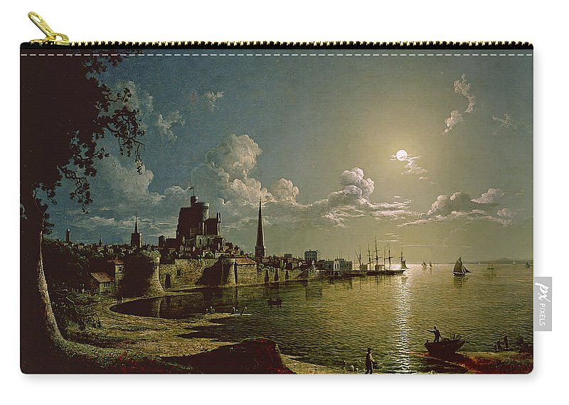 Night Carry-all Pouch featuring the painting Moonlight Scene, Southampton, 1820 by Sebastian Pether
