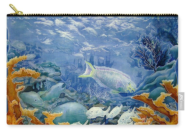 Coral Carry-all Pouch featuring the painting Moonlight Swim by Deborah Younglao