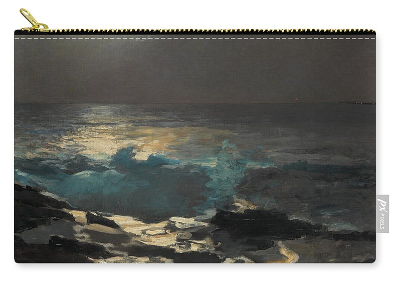 Winslow Homer Carry-all Pouch featuring the painting Moonlight. Wood Island Light by Winslow Homer