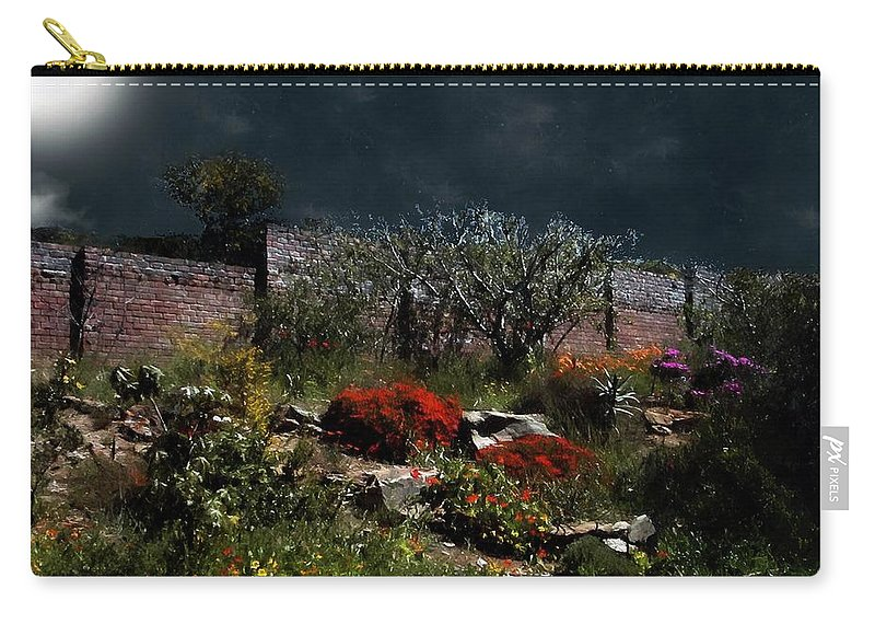 Flowers Carry-all Pouch featuring the painting Moonlit Hillside In Africa by RC DeWinter