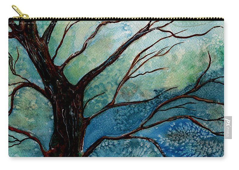 Landscape Carry-all Pouch featuring the painting Moonrise In The Wild Night by Brenda Owen
